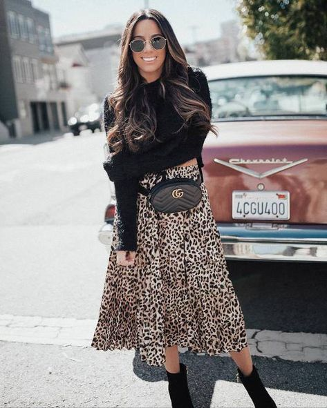 skirt,midi skirt,leopard print,belt bag,black boots,high heels boots,jumper,sunglasses