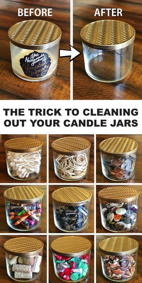 Repurpose Your Candle Jars With This Easy Trick in 2020 | Diy storage jars, Recycled candle jars, Re