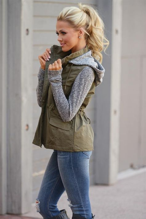 Casual Fall outfit, When I'm With You Hooded Jacket - Olive from Closet Candy Boutique