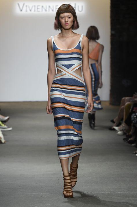 Vivienne Hu Spring/Summer 2017 New York Fashion Week Runway Show #STRIPES #CUTOUTS #MIDDIEDRESS