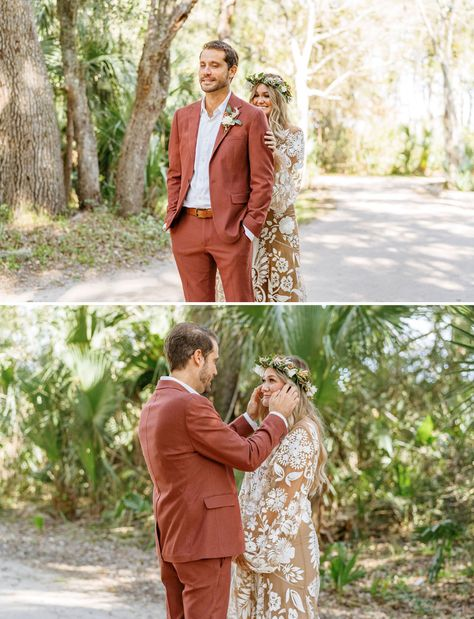 They planned for a year and turned their boho meets tropical engagement party into a surprise wedding! A Rue de Seine dress and sangria bar topped it off! See how the pulled it all off with an intimate guest list and seriously inspiring wedding style! #gws #greenweddingshoes #surprisewedding #bohowedding #tropicalwedding