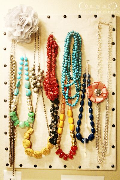 Jewelry organizing pin board.