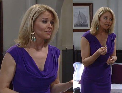 I'm a Soap Fan: Felicia Scorpio's Purple Cowlneck Dress - General Hospital, Season Episode