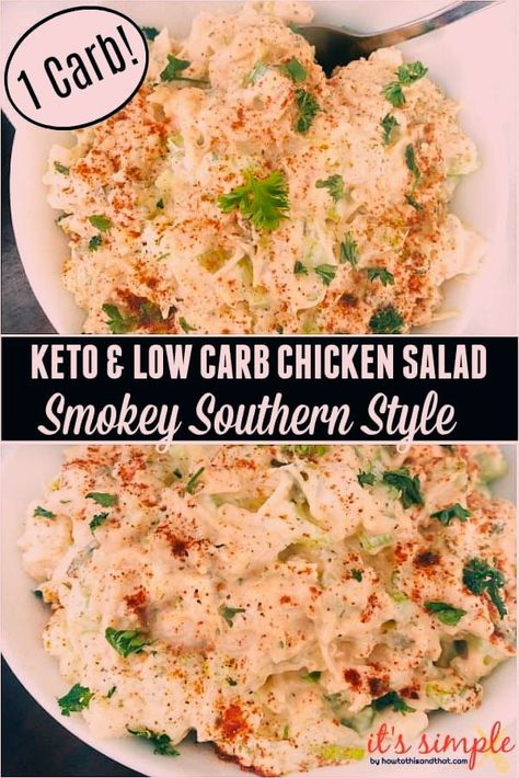 Keto chicken salad is an absolute favorite in our household and for good reason. I have a box full of easy #keto chicken salad #recipes that we pull out once a week. Check out how we put a southern style spin on this classic #ketochickensalad, it is a #lowcarb #chickensalad for even your non keto-ers! #ketorecipes #lowcarbrecipes #ketolunch #easyketorecipes #ketochicken #ketodinnerideas #ketodietforbeginners #lowcarbchickensalad #chickensaladrecipe #southernstyle #smokeybbq