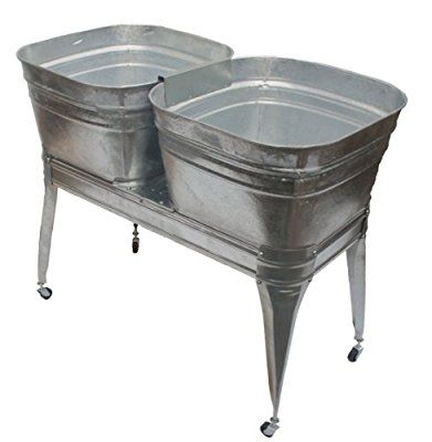 Twin Wash Tub With Stand And Drain With Images Galvanized Wash Tub Metal Wash Tub Wash Tubs