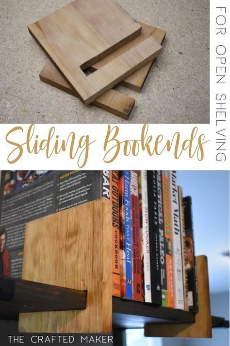 This Scrappy Saturday project is sliding bookends for open shelving. These sliding bookends are a great addition to any room with open shelving. This is a fun and quick project to complete! diy holz Sliding Bookends for Open Shelving - The Crafted Maker Diy Wood Projects, Furniture Projects, Home Projects, Wood Crafts, Diy Furniture, Project Projects, Plywood Furniture, Furniture Plans, Beginner Wood Projects