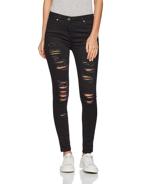 Womens Ladies Black Multi Ripped Distressed Frayed Jean Stretch Skinny 6 8 10 12