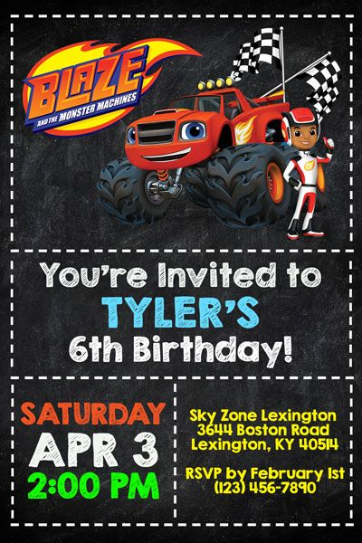 Blaze And The Monster Machines Chalkboard Invitations Blaze