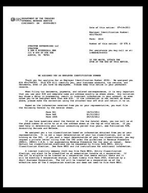 Tax Id Issue Letter Ein Assignment Letter Tax Irs Federal