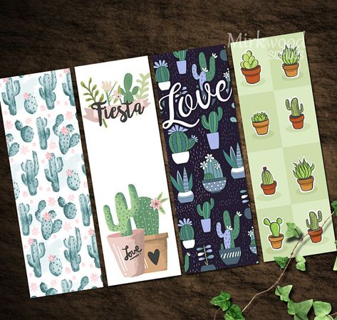 Printable Cactus Bookmarks |  Cactus Party Favors |  Set of 4 Pretty Succulent Bookmarks | Watercolo
