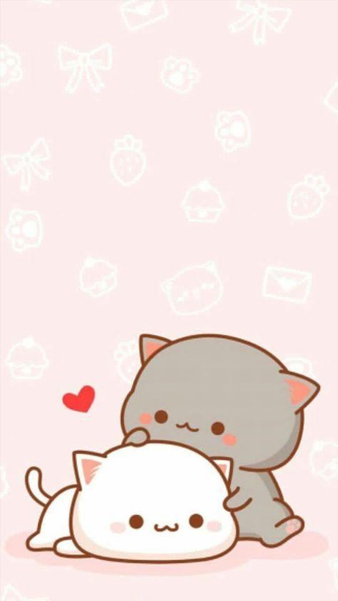 Ig: @kwai_universe #kawaii #cat #cute #wallpaper #pastel #pink