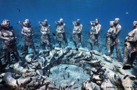 Underwater statue Park on Gili Meno. Underwater sculptures on Gili. Snorkeling Gili Islands #gili #giliislands #underwaterstatues #underwatersculpture #snorkeling #gilimeno