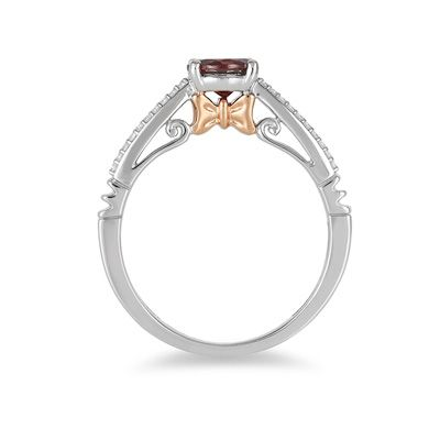 Enchanted Disney Snow White 6 0mm Garnet And 1 10 Ct T W Diamond Promise Ring In 10k Two Tone Gold Zales In 2021 Diamond Promise Rings Promise Rings Disney Engagement Rings