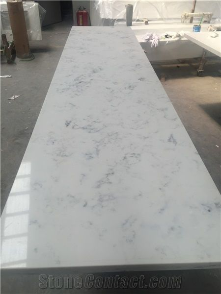 White Veined Quartz Countertop In Calcutta Leyla Kitchen