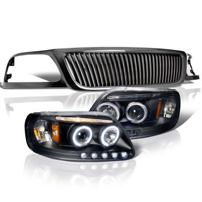 Ford F150 1999 2003 Black Vertical Grille Halo Projector Headlights Led Ford F150 Accessories Ford F150 F150 Accessories