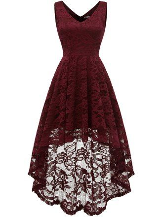 6666 Sleeveless Hi-Lo Lace Formal Dress Cocktail Party Dress V Neck M Burgundy Plus Size Maxi Dresses, Short Sleeve Dresses, Formal Dresses, Elegant Dresses, Sexy Dresses, Summer Dresses, Cool Dresses, Pretty Dresses For Teens, Cute Dresses For Party