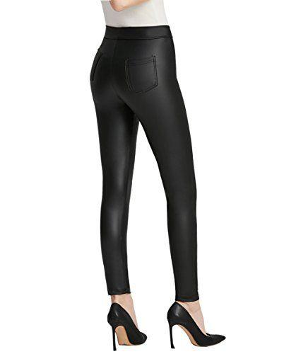 Femme Noir Slim Fit PU Leggings Skinny pour femme aspect cuir stretch jeggings