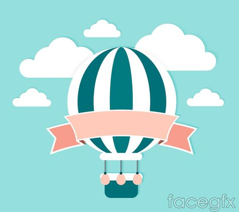 Free download Fresh and hot-air balloon ribbons of clip art vector . Free vector includes Vector material, clouds, Ribbon, hot air ballooning, sky, clip art, ve