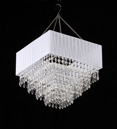 White Fabric Square Clear Beaded Chandelier Beaded Chandelier