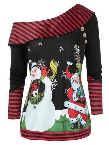 Plus Si. They are beautiful, endearing and affordable. You deserve it! Plus Size Mode Plus Size Christmas Skew Neck Printed Sweatshirt - fall outfits casual