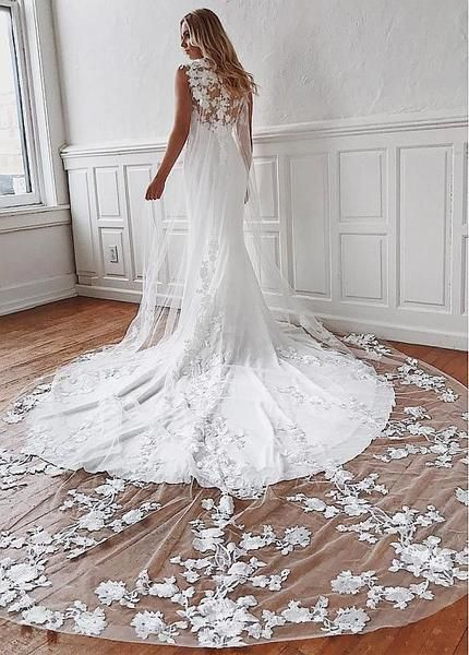 Appliques Watteu Chiffon Jewel Lace Mermaid Wedding Dress In