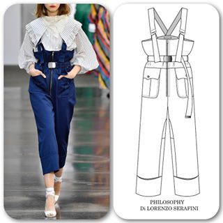 """Fashion Design Drawing You are absolutely right! Photos do this utility style overall no justice. The details were so much fun to draw and I'm loving the """"it"""" trim of the season - twill tape."""