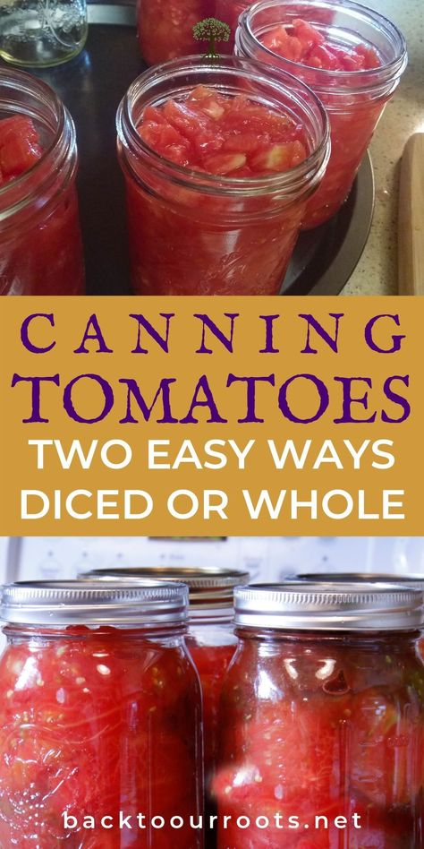Tomato harvest getting out of hand? That means there's more to put in the canning pantry. Let me walk you through canning tomatoes in 2 easy ways: diced or whole. Pressure Canning Recipes, Home Canning Recipes, Cooking Recipes, Pork Recipes, Bread Recipes, Easy Canning, Canning Tips, Tomato Canning Ideas, Canning Labels