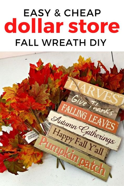 Cheap Autumn decor idea with a quick wreath for front door. Perfect if you're decorating for Fall on a budget and need budget friendly ideas to decorate for Fall on a budget. So check out these front porch fall wreaths for your door. #hometalk
