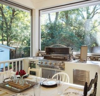 Year Round Southern Outdoor Porch Entertaining Porch Grill Outdoor Kitchen Design Built In Grill