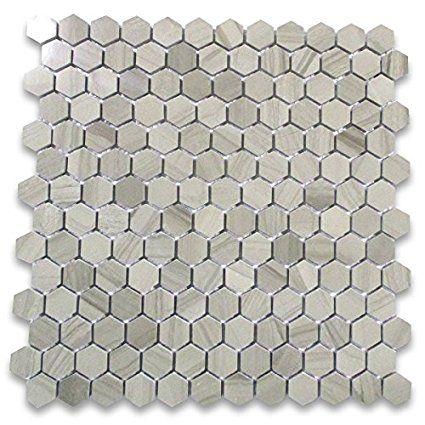Athens Grey Wood Grain Marble Hexagon Mosaic Tile 1 Inch Polished Hexagon Mosaic Tile Hexagonal Mosaic Hexagon