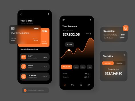Dark UI for finance App