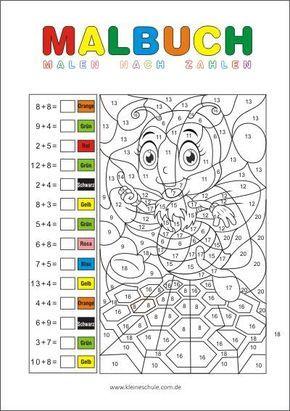 Rechnen Und Malen Zr 20 Matheaufgaben Fur Die 1 Klasse Mathematik In Der Grundschule Math Coloring Math Coloring Worksheets Kids Math Worksheets