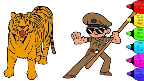 Little Singham Vs Royal Bengal Tiger Coloring Pages Indian Wild
