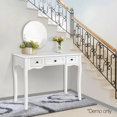 White Arie French Provincial Hall Table White Side Tables