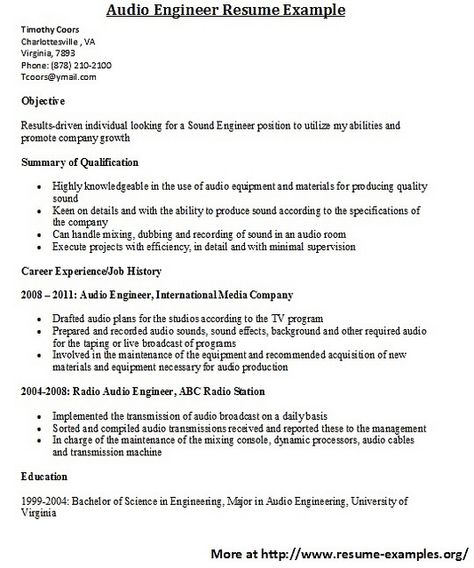 International Broadcast Engineer Sample Resume Resume Sample From Resumebear Find Great Tips For Writing