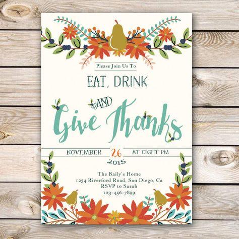 Thanksgiving Invitation Thanksgiving Dinner by BradfordRoadDesigns