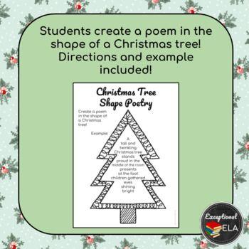Free Christmas Tree Shape Poetry Tree Shapes Christmas Poems Christmas Poetry