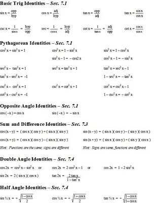 Best  Trig Identities Sheet Ideas On   Trigonometry