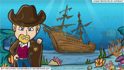 An American Old West Sheriff and A Shipwreck Background