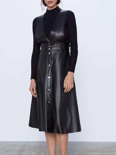 Women's Fashion High Waist Midi V Neck Button Celebrity&Elegant Sleeveless Solid Color Tank Dresses