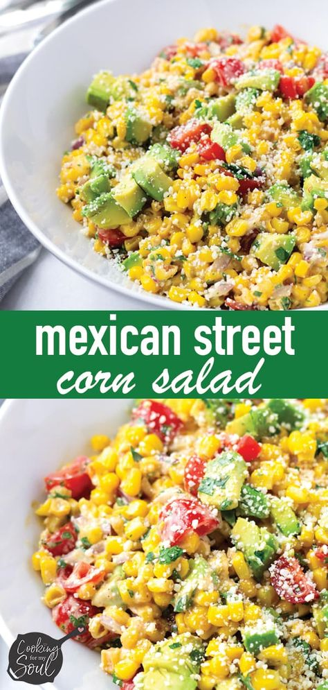 Mexican Street Corn Salad! One of my best Cinco de Mayo recipes! This Mexican corn salad is so refreshing, delicious and easy to make #mexicanfood #mexicansalad #mexicanstreetcorn #cornsalad #cookingformysoul | cookingformysoul.com