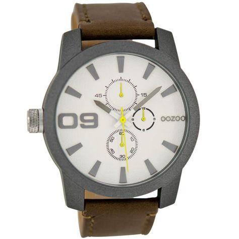 Ρολόι Oozoo Timepieces 45mm White Dial - Brown Leather Strap - C6102 ... 693a5d33b26