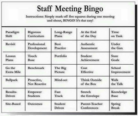 The Official Faculty Meeting Bingo Card  Faculty Meetings Met