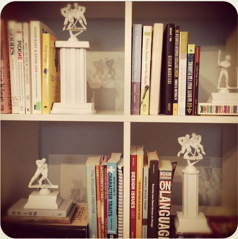 Make bookends from old trophies.                        Gloucestershire Resource Centre http://www.grcltd.org/scrapstore/