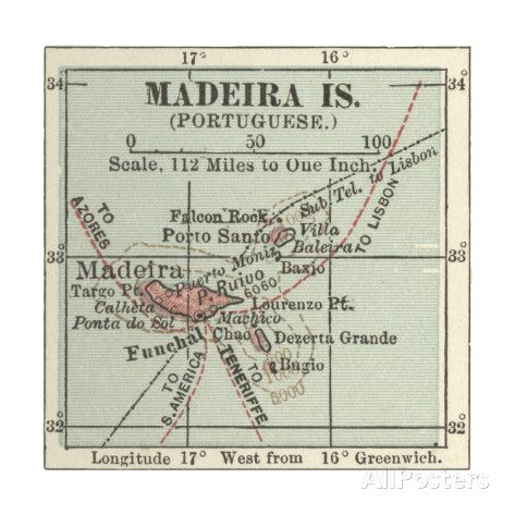 Map of Madeira Island Art sur AllPosters.fr