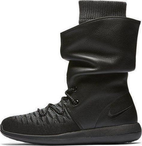 huge selection of 92bb5 1f4e1 Nike Flyknit Roshe Two Hi Boot Winter Black Grey 861708 001 Wmn Sz 9.5