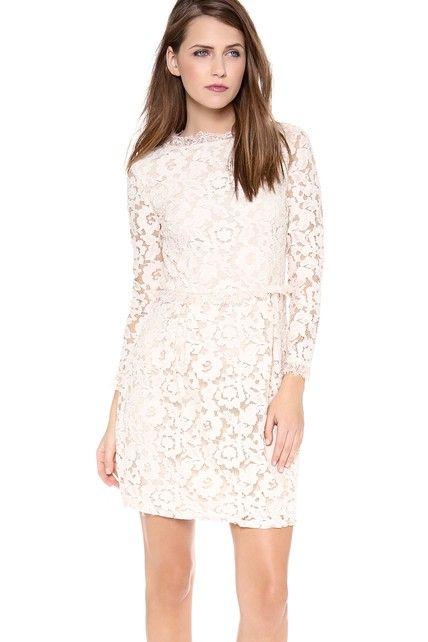 a69ed3b8f1 Short Long-sleeved Scooped Sheath Lace Dress | Dream Wedding | Short ...