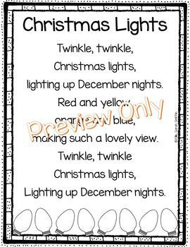 Christmas Lights Poem For Kids Christmas Song Sight Words Poem Of The Week Holiday P Christmas Poems Preschool Christmas Songs Christmas Songs For Kids