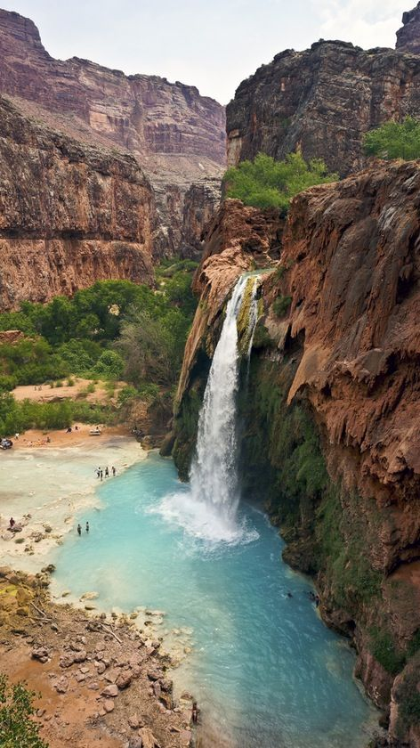 Hiking Discover Havasupai Tribe Supai Arizona by Bernini Easy to lose track of how many waterfalls we saw in this hike in the Grand Canyon. Discovered by Bernini at Havasupai Tribe Supai Arizona Places Around The World, The Places Youll Go, Places To See, Around The Worlds, Beautiful Waterfalls, Beautiful Landscapes, Vacation Ideas, Vacation Spots, Vacation Packages