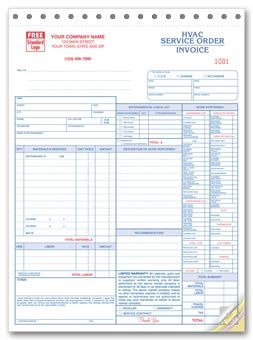 Hvac Service OrderInvoice Form WLarge Format  Hvac Forms
